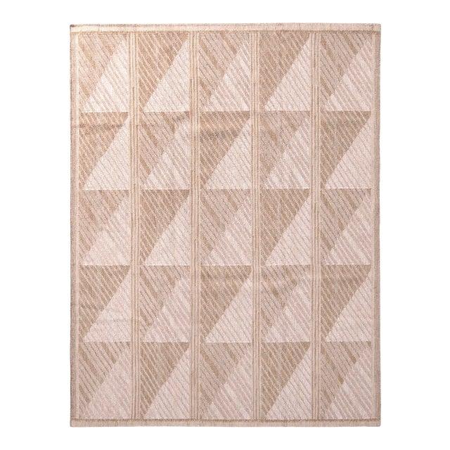 Scandinavian Style Geometric Beige Brown Wool Kilim Rug For Sale