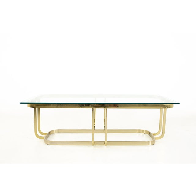 Brass Milo Baughman Style Mid Century Brass and Glass Coffee Table For Sale - Image 8 of 12