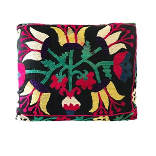 "Lg Uzbek Textile Suzani Pillow 21"" by 17"" For Sale"