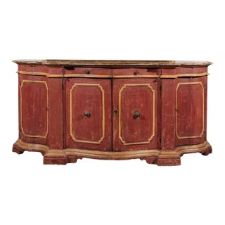 Venetian Red Painted Serpentine Front Credenza with Two Drawers over Four Doors For Sale