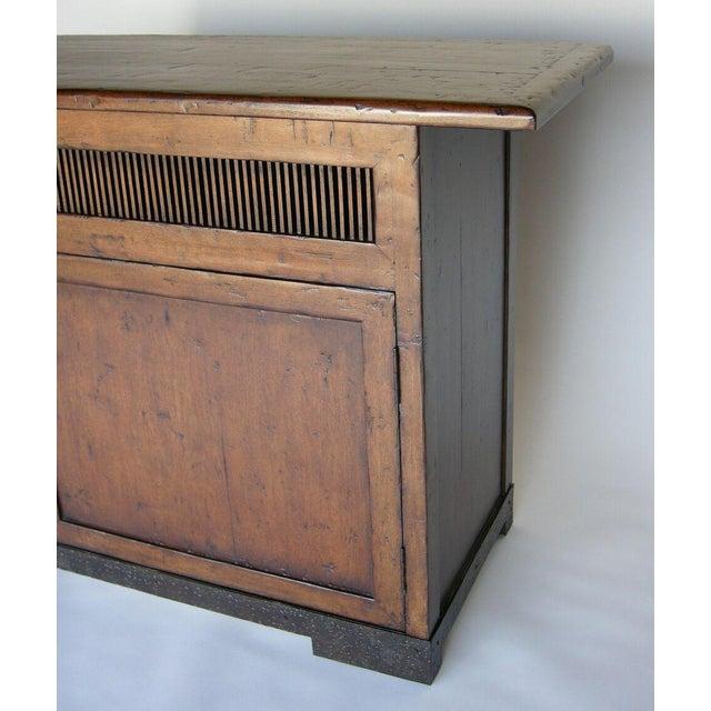 Custom Walnut Wood Media Console on Iron Base For Sale - Image 9 of 9