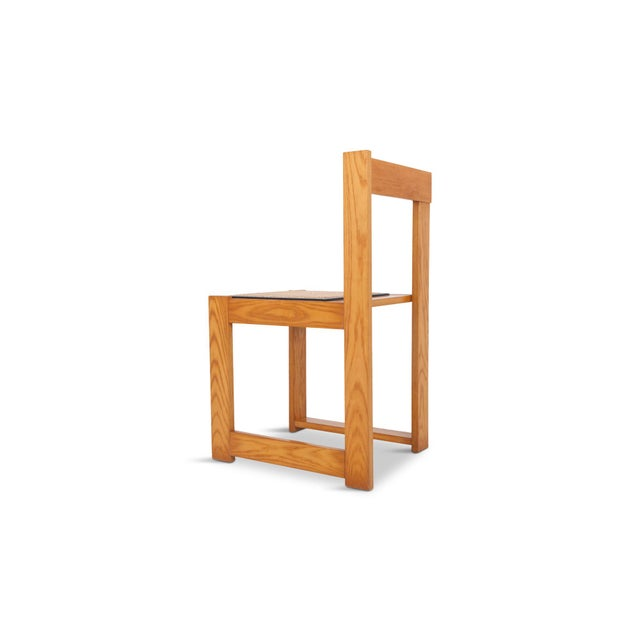 Abstract Architectural & Asymmetrical Dining Chairs in Pine & Wicker For Sale - Image 3 of 9