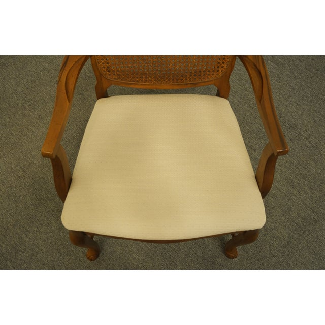Late 20th Century Late 20th Century Vintage Bernhardt Furniture French Provincial Cane Back Dining Arm Chair For Sale - Image 5 of 11