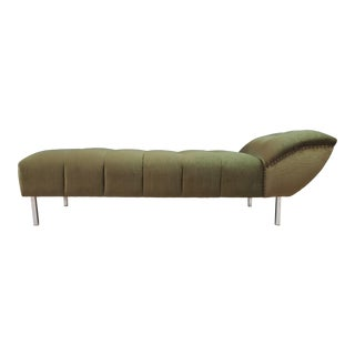 Green Velvet Tufted Chaise Lounge Sofa For Sale