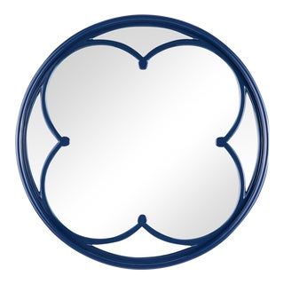 Lula Quatrefoil Mirror Small in Navy For Sale