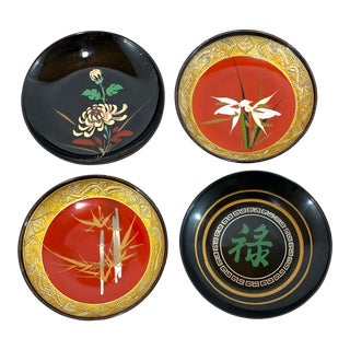 Asian Acrylic Coasters - Set of 4 For Sale