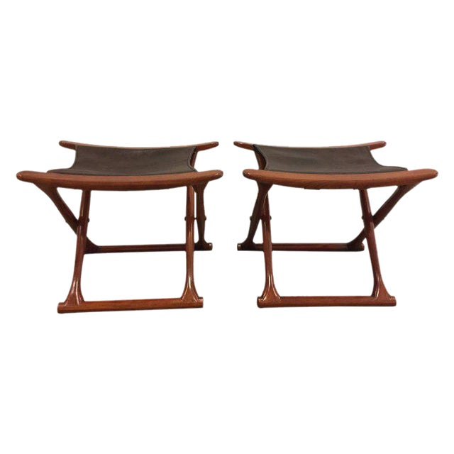 Pair of Rosewood Egyptian Folding Stools, Ole Wanscher Style For Sale