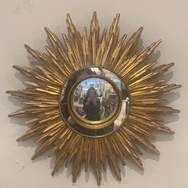Glass Hollywood Regency Gilded Sunburst Mirror For Sale - Image 7 of 13