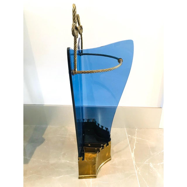 Italian Glass and Gilt Iron Umbrella Stand by Fontana Arte, 1950s For Sale - Image 11 of 13