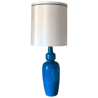 One of a Kind Turquoise Blue Ovoid Mid Century Lamp Attr Paul Hanson For Sale