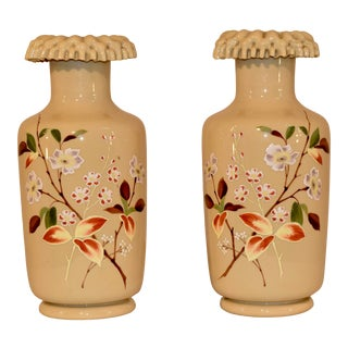 Pair of 19th Century Opaline Vases For Sale