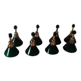 Vintage Brass & Green Glass Track Lighting Fixtures - Set of 8 For Sale