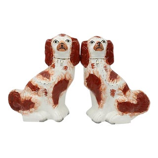 Antique Staffordshire King Charles Spaniels - A Pair For Sale