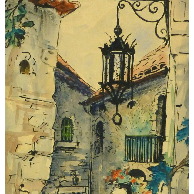 Traditional Augustin Faure, Vintage French Watercolor - Village De Provence For Sale - Image 3 of 5