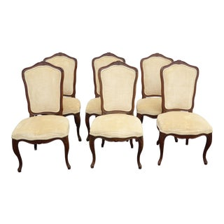 Vintage Kindel French Provincial Yellow Velvet Dining Room Chairs - Set of 6
