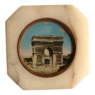 Antique Souvenir of Paris Marble Paperweight For Sale