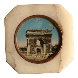 Antique Souvenir of Paris Marble Paperweight