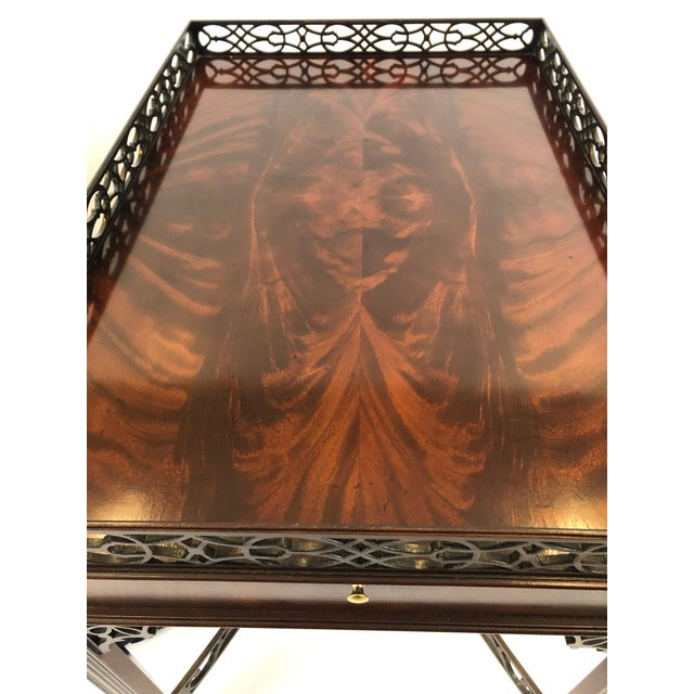 Wood Chippendale Flame Mahogany Side Table For Sale - Image 7 of 13