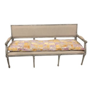 Aidan Gray Bench With Custom Cushion For Sale