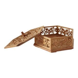 Vintage Bohemian Wooden Hexagon Box