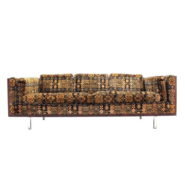 Mid-Century Modern Chrome and Rosewood Sofa For Sale In New York - Image 6 of 7