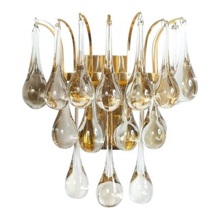 Multiple Palwa Murano Glass Tear Drop Sconces Wall Lamps Gold Brass, 1960 For Sale