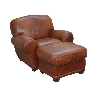 Art Deco Style Brown Leather Club Chair & Ottoman