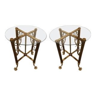 Hollywood Regency Glass Top Bronze Based End Tables - a Pair For Sale