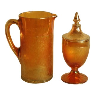 1960s Mid Century Marigold Glass Bar Pitcher and Cannister - 2 Piece Set For Sale