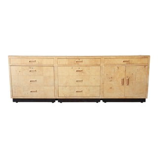 Milo Baughman Style Burl Wood Long Credenza or Bar Cabinet by Henredon For Sale