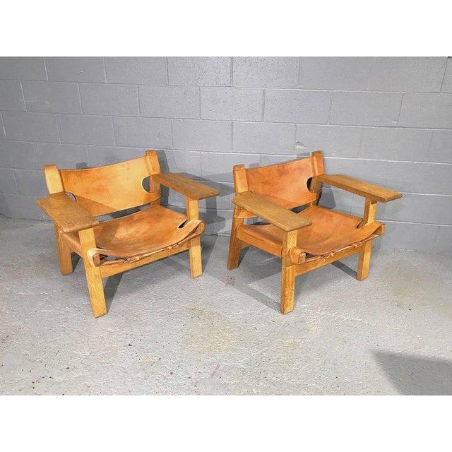 Pair of Spanish Chairs by Børge Mogensen for Fredericia Furniture For Sale - Image 12 of 12