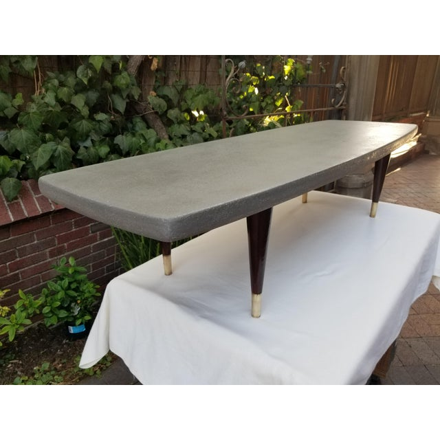 Gray Mid-Century Cork and Rosewood Coffee Table For Sale - Image 8 of 12