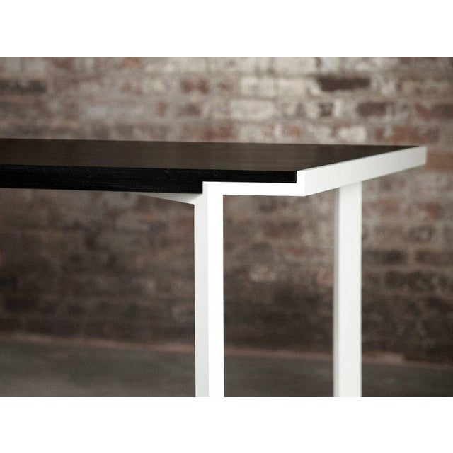 Contemporary Contemporary White Powder-Coated Steel and Ebonized Maple Trace Table For Sale - Image 3 of 6