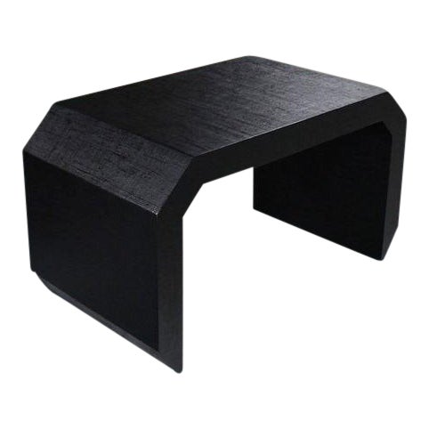 Mid-Century Modern Grass Cloth C Shape Coffee Table For Sale