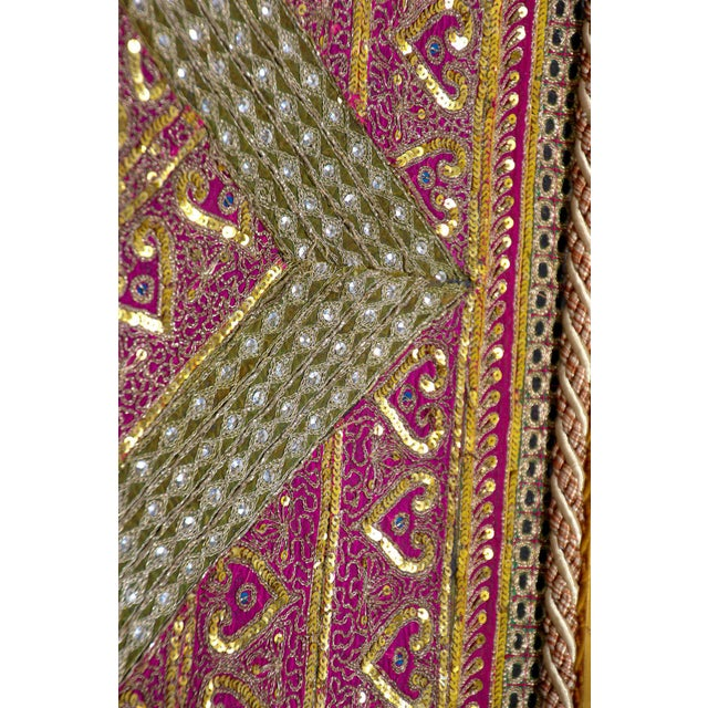 Pink Mughal Style Metal Threaded Tapestry Framed from Rajasthan, India For Sale - Image 8 of 13