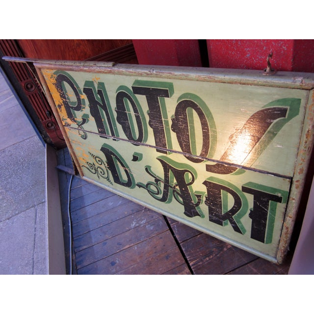"1920s Classic French Art Deco Sage Green Painted 2-Sided ""Photos D'Art"" Shop Sign For Sale - Image 10 of 13"