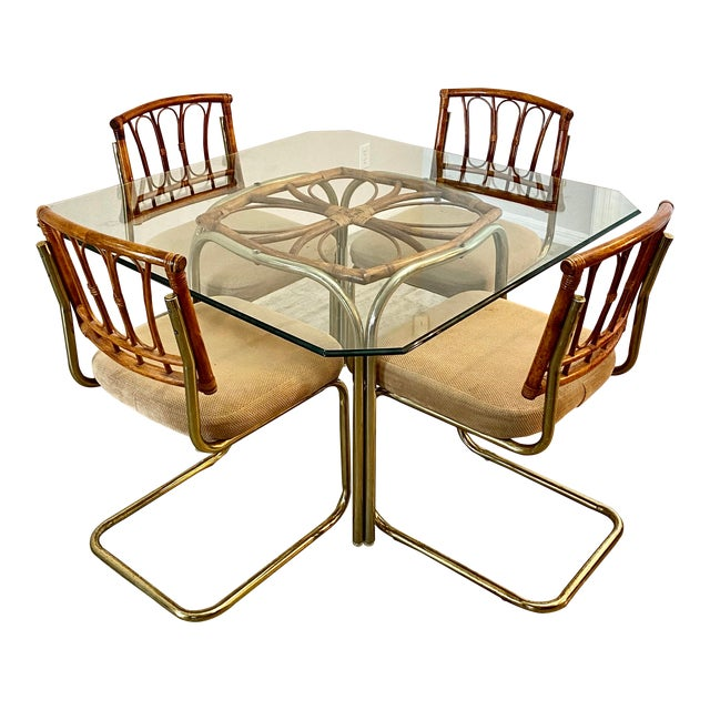 Palm Collection Mid Century Modern Bamboo Glass and Brass Dining Set For Sale