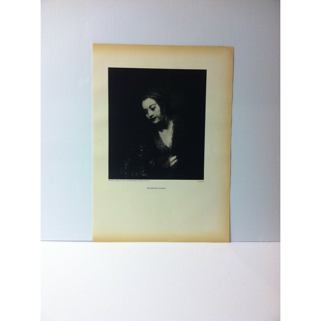 """Vintage Black & White Print of a Rembrandt Painting, """"Hendrickje Stoffels"""" For Sale - Image 4 of 4"""
