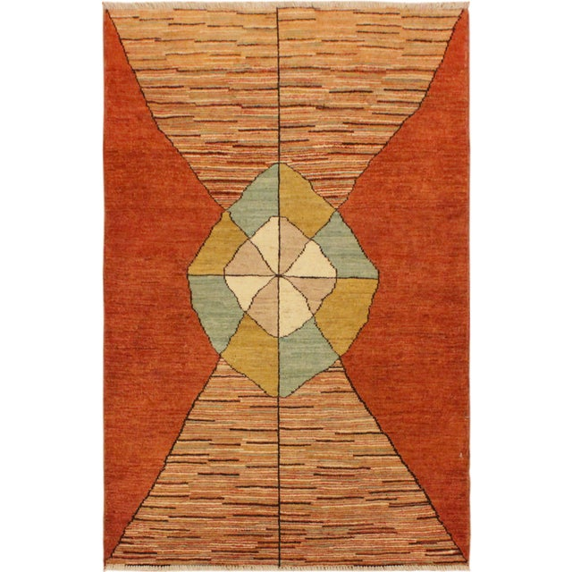 Blue Gabbeh Peshawar Gerry Orange/Gold Hand-Knotted Wool Rug -3'0 X 4'5 For Sale - Image 8 of 8