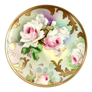 Late 19th Century Antique Royal Austria Victorian Hand Painted Limoges Gilt Pink Roses Plate For Sale