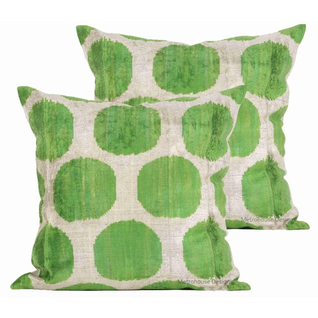 Boho Chic Green and Beige Silk Velvet Accent Pillows - Set of 2 For Sale - Image 3 of 3