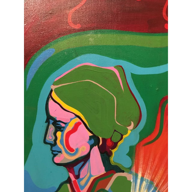 Vintage Mid-Century Colorful Figurative Abstract Oil on Canvas Portrait Painting For Sale In San Francisco - Image 6 of 12