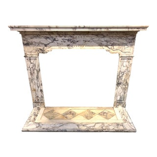 19th Century French Breccia Violetta Marble Mantel For Sale