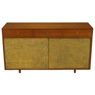 Walnut & Lacquered Linen Front Nine-Drawer Cabinet For Sale