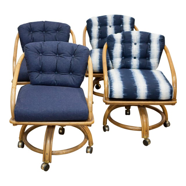 Rattan Rolling Dining Chairs - Set of 4 - Image 1 of 7