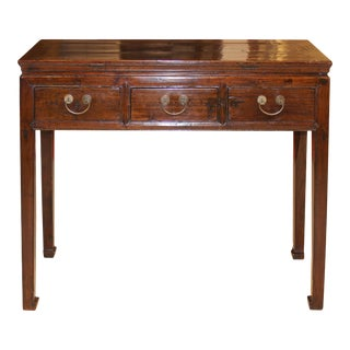 Asian 3-Drawer Elm Console Table For Sale