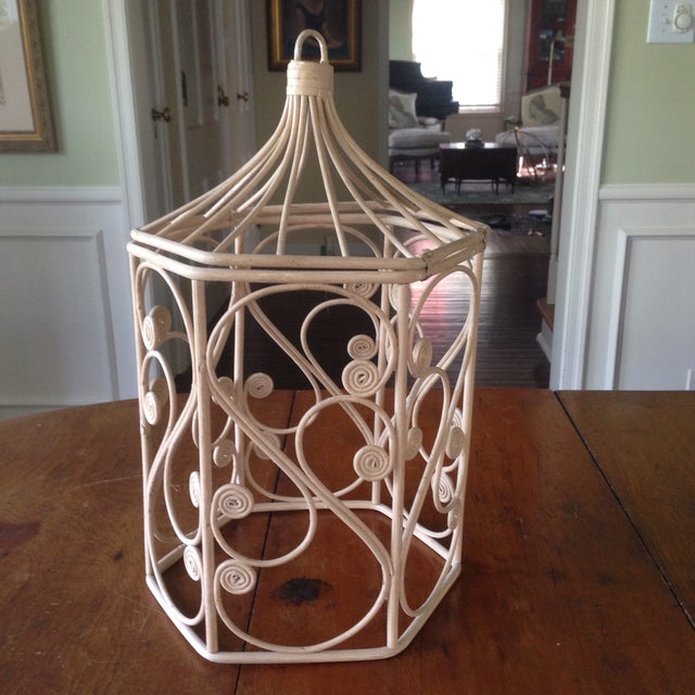 Vintage Rattan Wicker Birdcage - Image 2 of 11