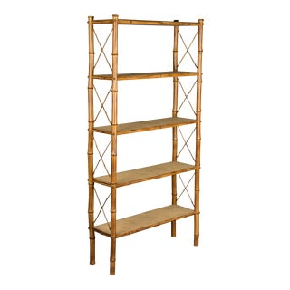 Mid-Century French Bamboo & Rattan Etagere For Sale