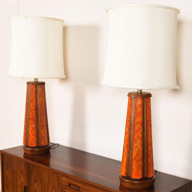 Mid-Century Modern Mid-Century Walnut & Orange Enamel Lamp's, Pair For Sale - Image 3 of 10