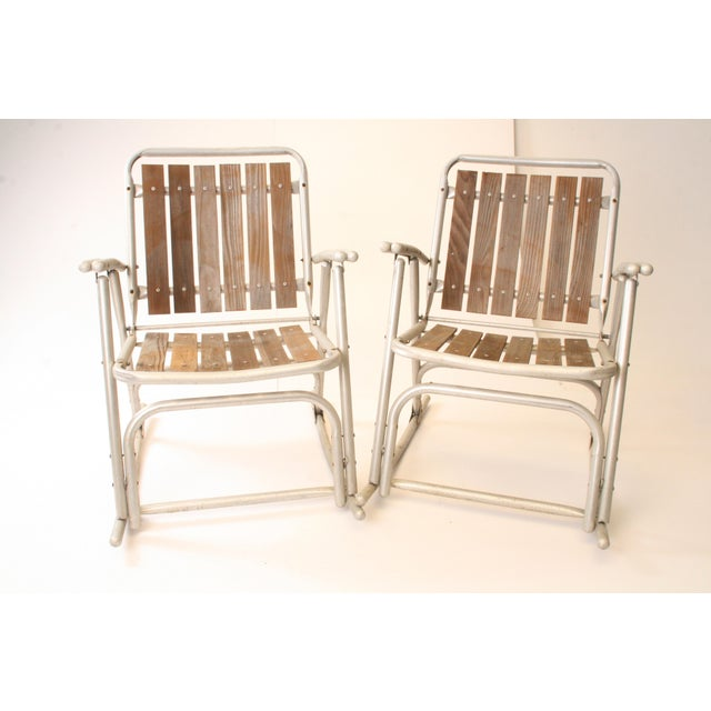 Vintage Redwood & Aluminum Folding Rocking Chairs - A Pair For Sale - Image 5 of 11